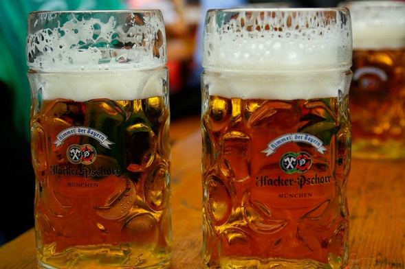 Oktoberfest mugs full of beer